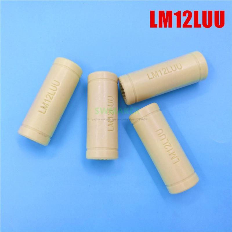 4pcs LM12LUU Solid Polymer Linear Bearing Bushing 3D Printer Bearing 12mm Engineering Plastic Bearing