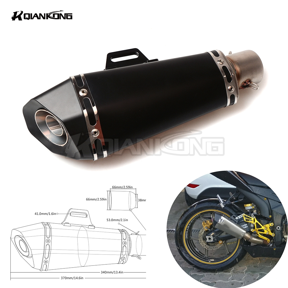 Universal Scooter Modified Muffler exhaust pipe For Yamaha R1 R3 R6 R125 FZ6 FZ1 FAZER XV 950 MT07 MT09 MT03 TMAX XMAX VMAX 1200