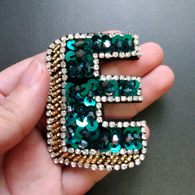 Handmade love letter rhinestone beaded patches for clothing diy alphabet beaded  applique for jackets decorative sequin parches 6fcaaf119e7c