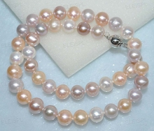 fine 10mm near round natural white pink purple pearl necklace