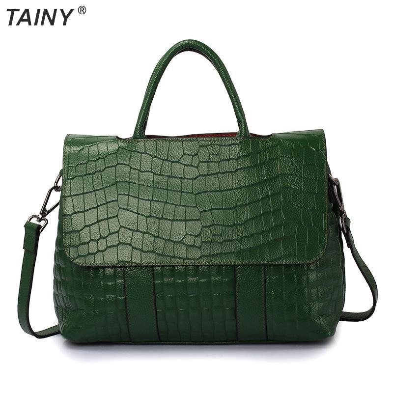 TAINY 2017 Brand New Tainy Tote Genuine Leather Cow Leather Crocodile Pattern Bags Shoulder & Messenger Bags 32cm цены