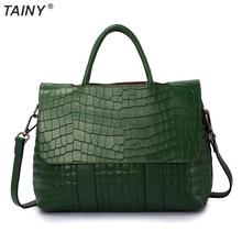 TAINY 2017 Model New Tainy Tote Real Leather-based Cow Leather-based Crocodile Sample Baggage Shoulder & Messenger Baggage 32cm