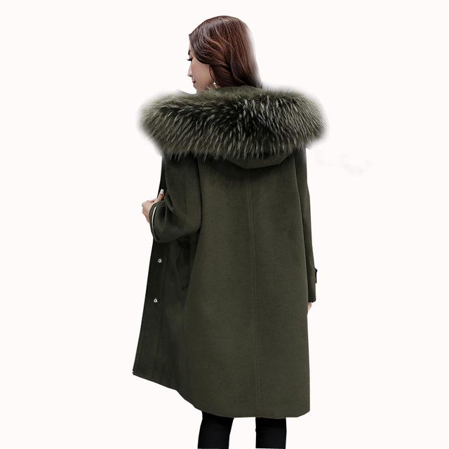 2016 autumn winter woolen coats Korean loose plus size women woolen coat fashion long hooded big faux fur wool outerwear kp1034