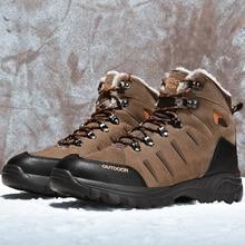 Pria Musim Dingin Hiking Sepatu Hiking Boots Plush Tinggi Top Fashion  Taktis Luar Ruangan Mendaki Gunung Olahraga Sneakers Besar. 5400957a18