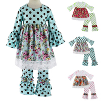 Kids Children Clothing Fall/spring Clothes Girls 2pcs Clothing Sets Polka Dot Ruffle Pant Set Boutique Outfits With Lace Trims