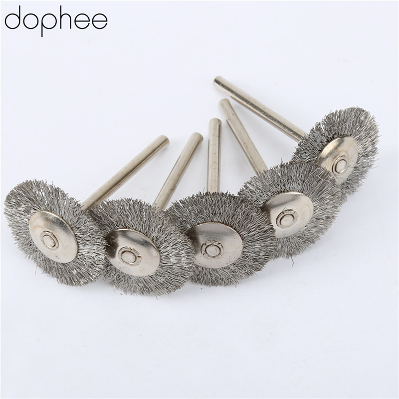 Dophee 5Pcs Dremel Accessories Stainless Steel Wire 25mm Wheel Diameter Brushes For Grinder Dremel Rotary Tool Accessory Steel