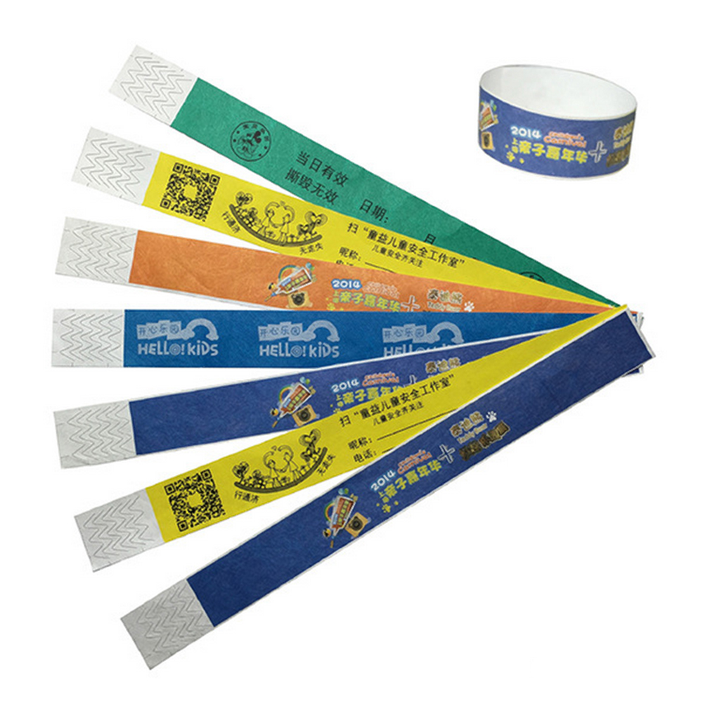 Color printing paper - 1000pcs With One Color Logo Printing Custom Event Wristband Custom Paper Wristbands Custom Tyvek