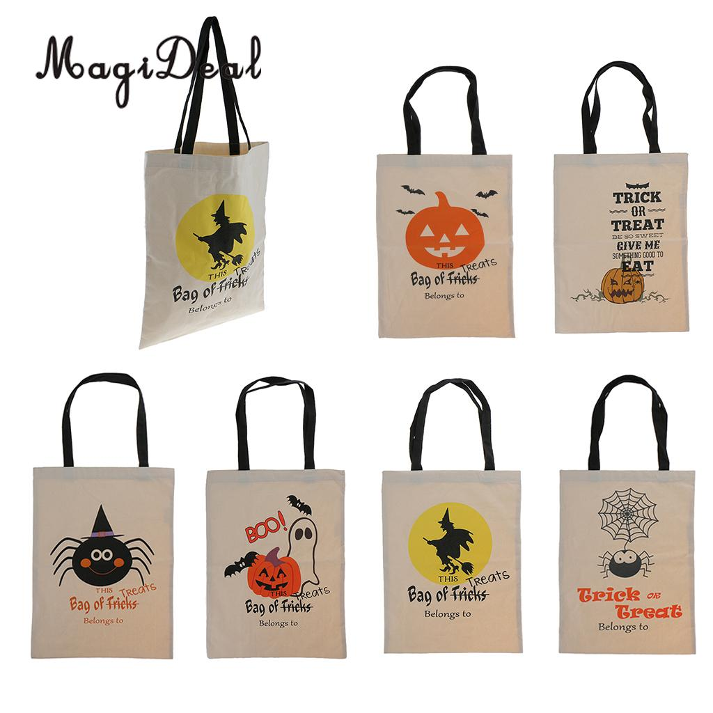 MadiDeal Durable Reusable Halloween Party Pumpkin and Bat Print Cotton Canvas Tote Gift Bags for Shopping Carring Books Supplies