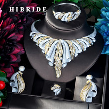 HIBRIDE New Luxury Design Necklace Pendant Gold Color Luxury Women Jewelry Set For Bridal Party Accessories Jewelry Gifts N-924(China)