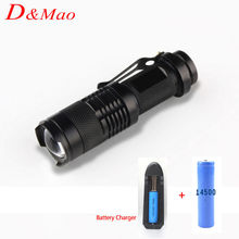 high-quality Mini Black CREE 2000LM Waterproof LED Flashlight Zoomable Adjustable Focus LED Torch penlight+1*14500+1*Charger