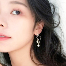 Korean Fresh and Simple Temperament Hollow Star Asymmetric Alloy Earrings Female Jewelry Gift Wholesale