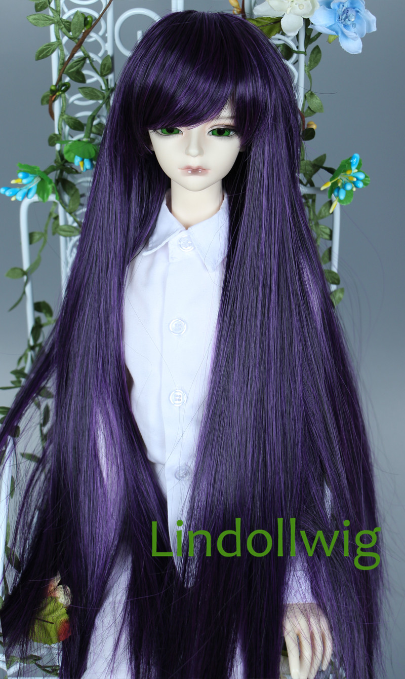 fc075fb8833f0 1/4 BJD Wig Pullip Dal DD SD Dollfie Doll Wig 7-8 inch Wig Long Wig Black  Purple