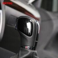SKTOO Car Styling Shift Lever Cover Gear Shift Knob Head Carbon Fiber Sticker For VW Golf