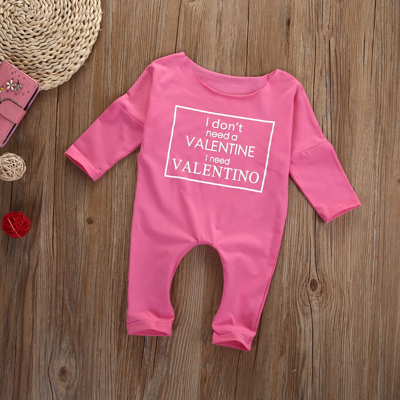 Pink Spring Autumn Baby Clothes Cotton Baby Girls Clothes Letters