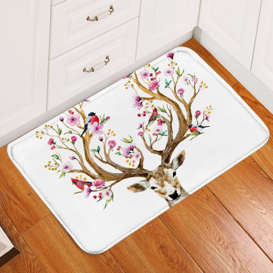 Elk Deer Non Slip Bathroom Rugs