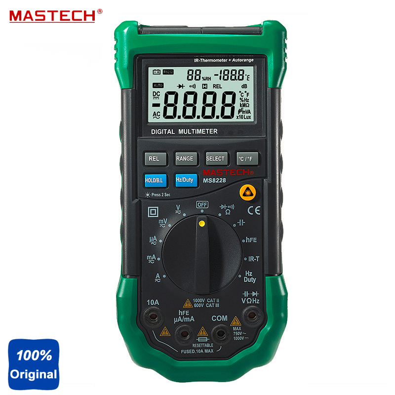 Mastech MS8228 Infrared Thermometer Temperature Humidity Meter Digital Multimeter DMM digital indoor air quality carbon dioxide meter temperature rh humidity twa stel display 99 points made in taiwan co2 monitor