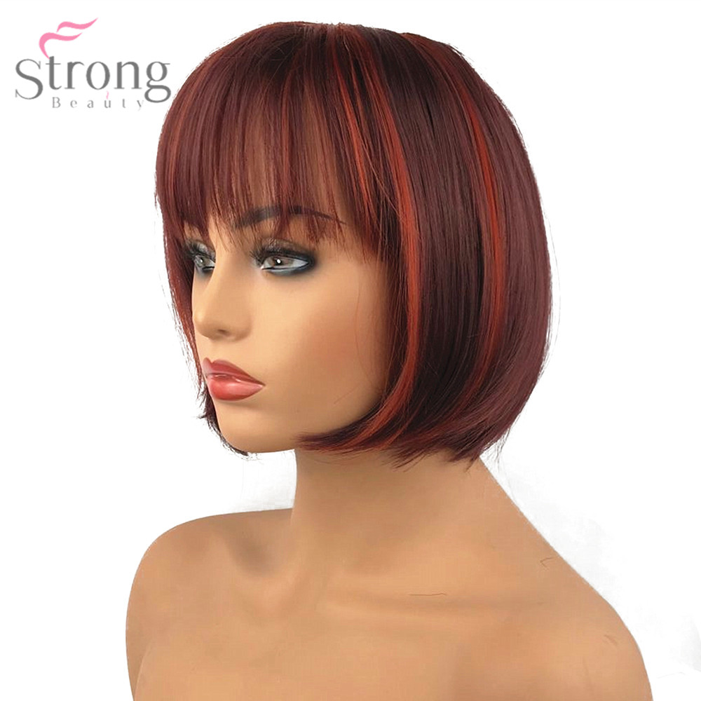 StrongBeauty Short Red Bob Wig Cosplay Womens Synthetic Capless Wig Natural Wigs