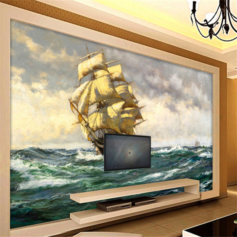 custom modern 3d wallpaper murals 3d wallpaper oil painting sea scenery sailboat living room TV background wall home decor custom photo 3d ceiling murals wall paper blue sky rose flower dove room decor painting 3d wall murals wallpaper for walls 3 d