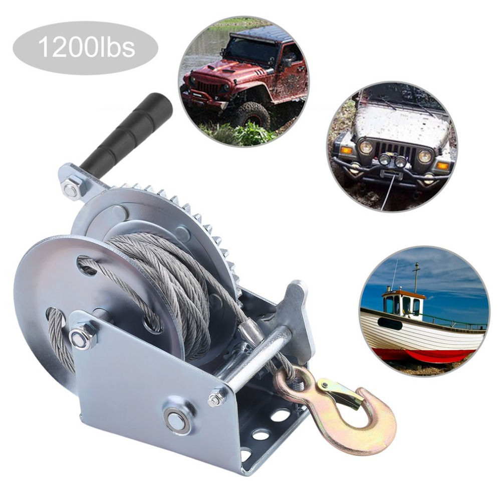 1200lbs Manual Winch Truck Auto Lifting Sling 10M Boat Car Lift Winch Heavy Duty Hand Power Puller Professional Hand Tool