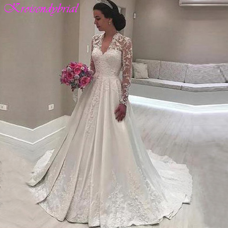 DZW368 Long Sleeves Vestido De Noiva 2019 Muslim Wedding Dresses A line Deep V neck Satin Lace Boho Wedding Gown Bridal-in Wedding Dresses from Weddings & Events