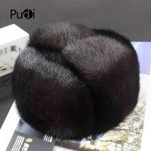Pudi 170760 men mink fur hat Men's Mink Fur Trapper Cap Genuine Sheepskin Leathe