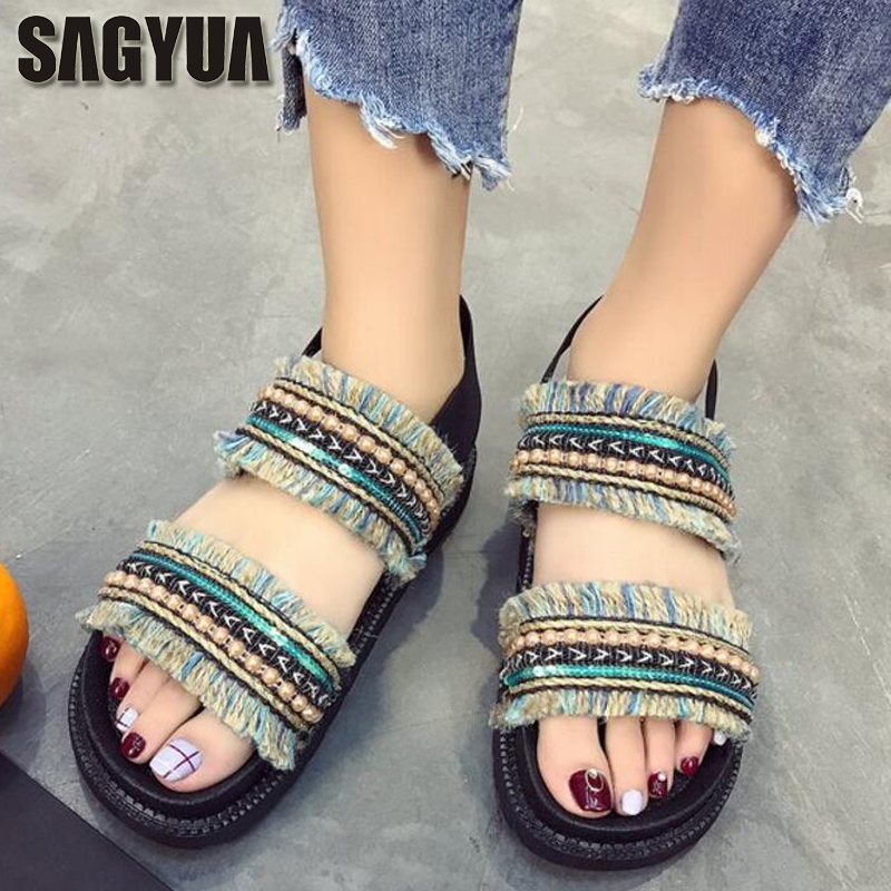 SAGYUA Summer Sandales Women's Fashion Casual Personality Soft Sole Sandals Knitting Wool Ankle Sandalias Flat Shoes Slides T365 цена и фото