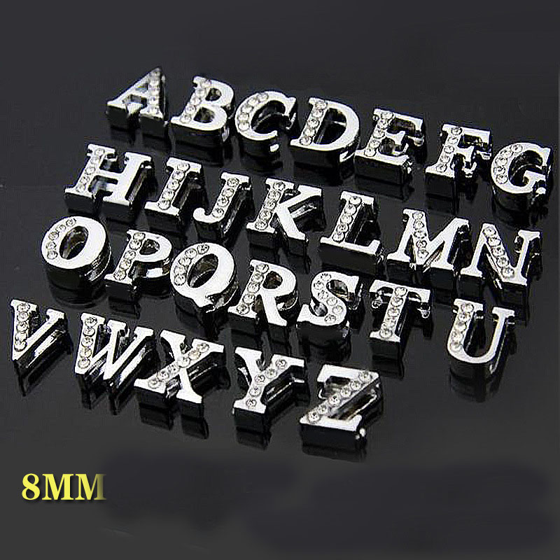Free Shipping 520pcs 8mm Half Rhinestone A Z Slide Letters Slide Charms Slide Beads DIY 8mm