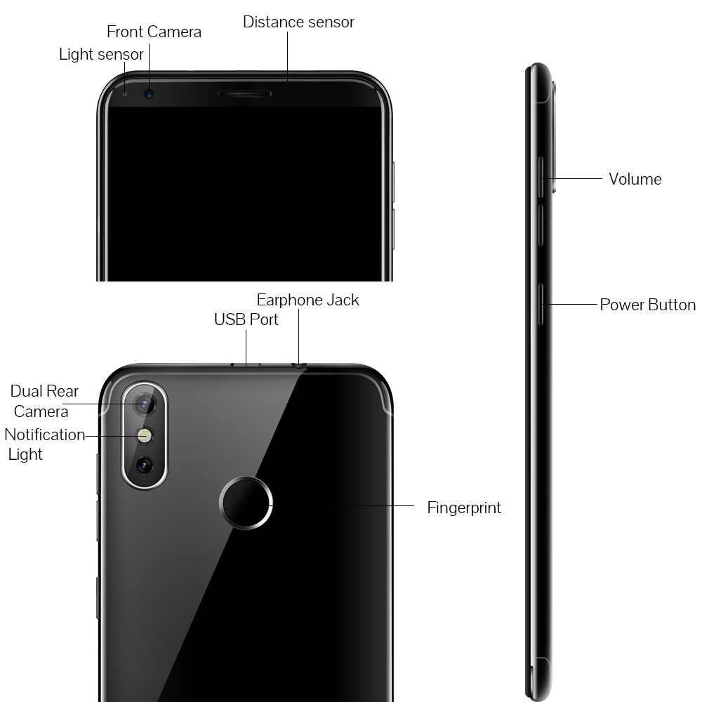 "Cubot J3 Pro Android go телефон 5,5 ""18:9 полный Экран задняя Двойная камера 13MP + 2MP MT6739 Quad-Core 1 Гб + 16 GB 4G LTE фигер ID 2800 мАч Смартфон"