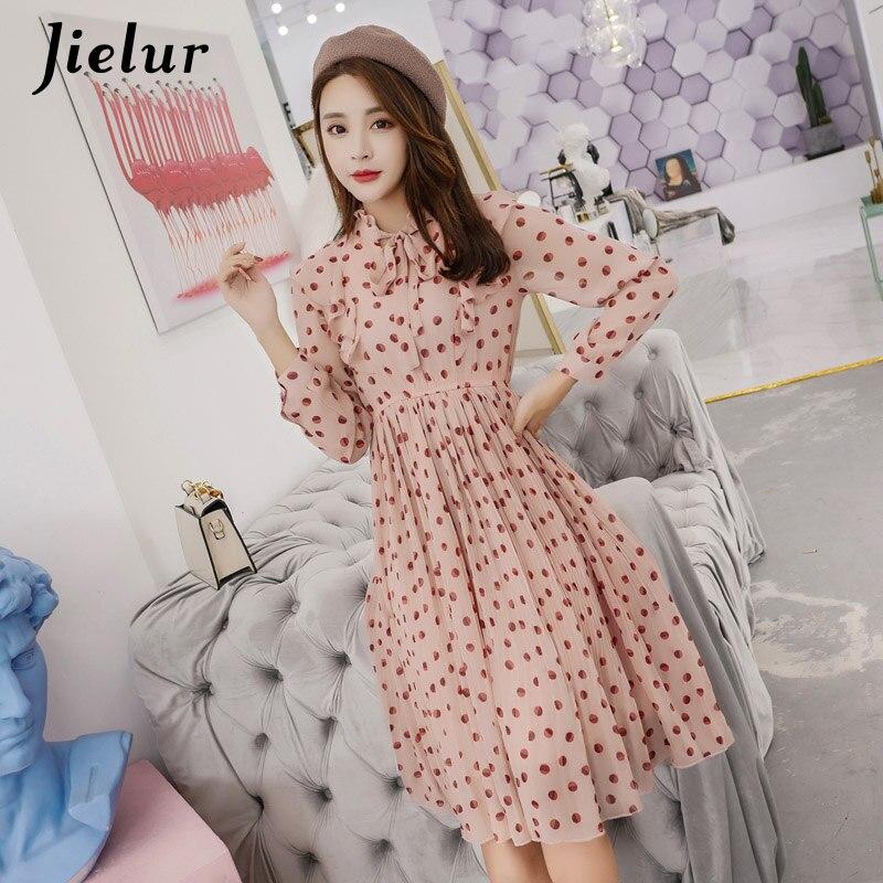 9a3cd36543db038 Jielur шифоновое платье женское осень весна горошек принт с длинным рукавом  vestidos Mujer 2019 OL шнуровка