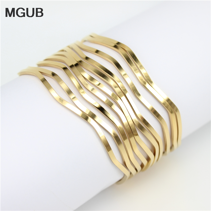 MGUB 10pcs/set stainless steel jewelry bracelet Gold color male and female minimalist jewelry excellent 3mm
