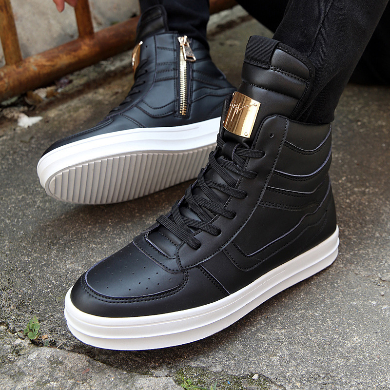 Mens High Top Casual Shoes Men Sneakers 2018 Fashion Man Hip Hop Shoes  White Lace up Flats Male Ankle Boots Plus Size 39 45-in Men s Casual Shoes  from Shoes ... 94e6247ff8