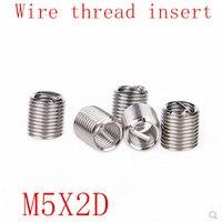 50 Uds M5 * 0 8 * 2D rosca de cable inserto acero inoxidable 304 manguito de tornillo  M5 tornillo buje Helicoil insertos de reparación de rosca de cable|Pieza roscada| |  -