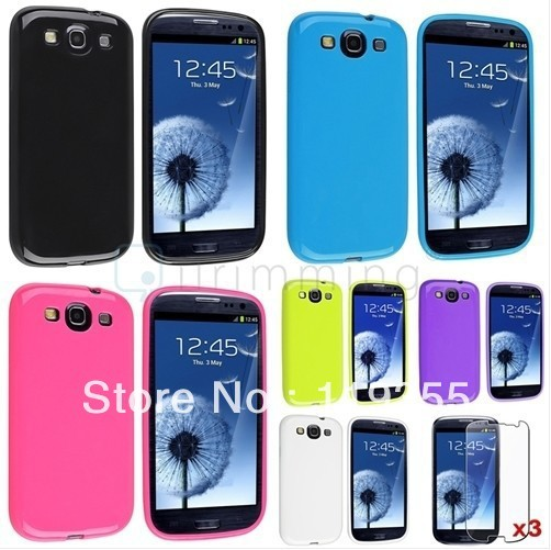 6x Rubber Skin Gel Soft TPU Cover Case+3x Clear LCD For Samsung Galaxy S3 i9300 case