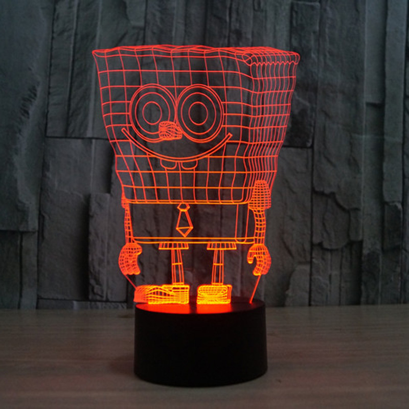 Creative Spongebob 3D led night light 7 colors auto changing 3D illusion lamp kids bedroom deco usb table lamp for chirdren gift 3d fire engine modelling table lamp 7 colors changing fire truck car night light usb sleep light fixture bedroom decor kids gift