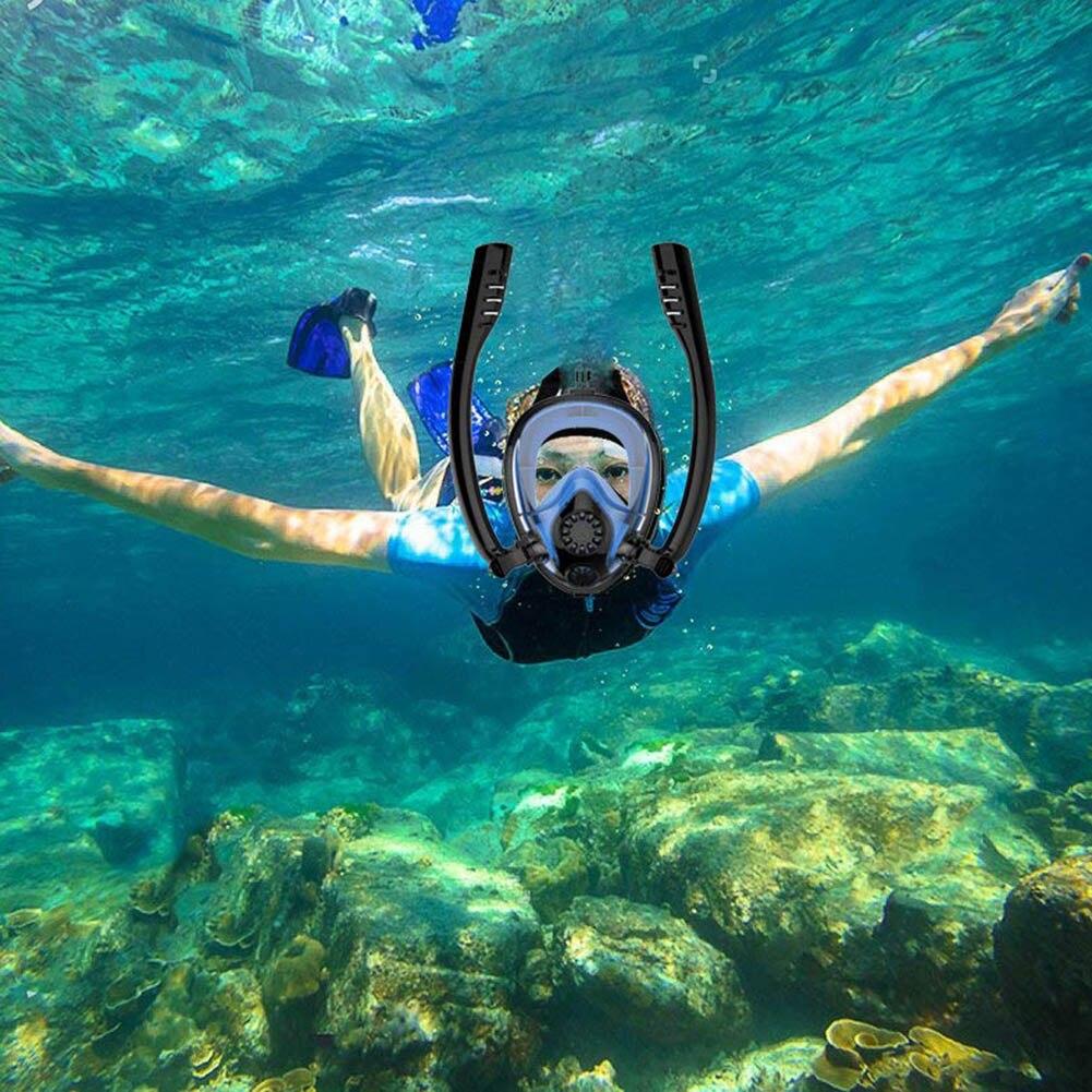 2019 nouvellement masque de plongée complet natation Sports nautiques Double Tubes Anti-buée masque de plongée ALS88