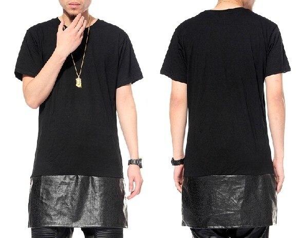 Long Extended leather Dress Top Cease Lengthen Bandana Tshirt Men Women  Short-sleeve T-shirt Fashion Trend Dress Tyga Short Tee c0c0590073