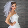 Free Shipping!!New White Ivory Short Wedding Accessories Ribbon Edge Three Layer Bridal Veil With Comb Hot Sale Party Fashion