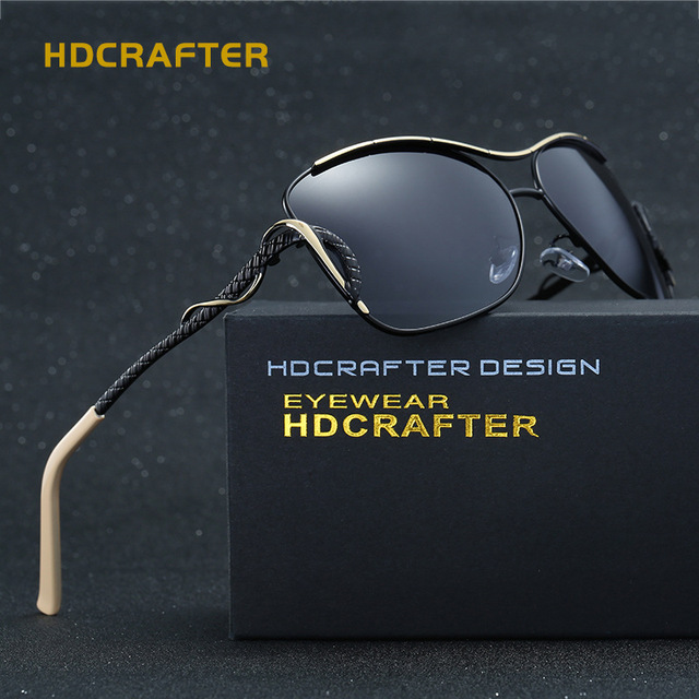 HDCRAFTER Alloy Polarized Sunglasses Women Original Brand Designer Mirror Sun Glasses Cool Womens Shades Gafas De Sol Mujer