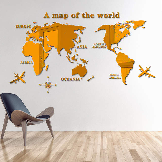 Mirrored Map Of The World.Online Shop 3d World Map Mirror Wall Stickers Art Background Wall