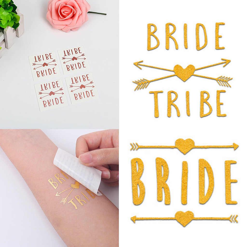 4 × 4 センチメートルメタリックローズゴールド一時的なタトゥーステッカーブライダルチーム花嫁介添人編ナイト独身パーティー結婚式の装飾用品