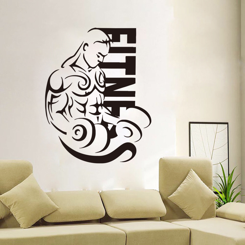 Wall stickers stairs images home wall decoration ideas creative dumbbell male fitness muscle man wall stickers for boy creative dumbbell male fitness muscle man amipublicfo Images