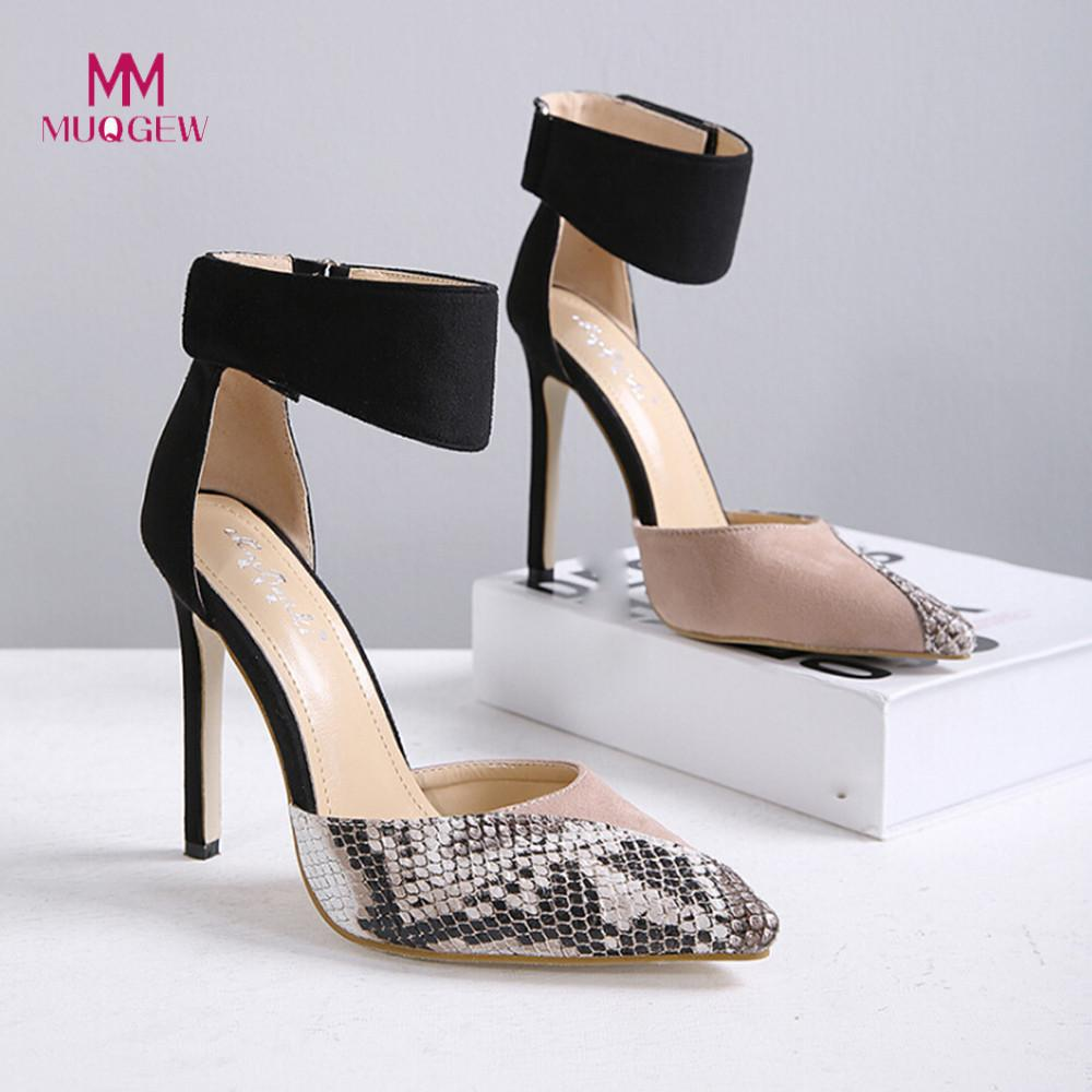 2019 shoes woman Buckle Strap Hollow Stiletto Heels Shoes Color Matching High Heel Shoes Leopard print zapatos de mujer high heels