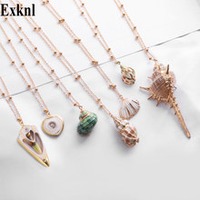 Exknl 2019 Boho Conch Shell Necklace Conch long Pendant Sea shell Necklace For Women Collier Femme Shell Cowrie Summer Jewelry(China)