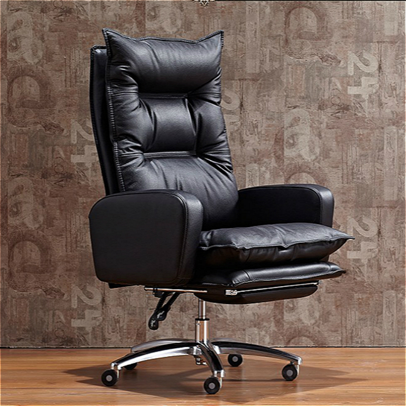Thicken Office Boss Chair Multi-purpose Lifted Rotation Computer Chair Household With Footrest Reclining Study Room PU Stool