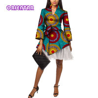 Fashion African Dresses Women African Wax Print Bazin Riche Long Sleeve Office Short Dress with Yarn Traditional Clothing WY3525