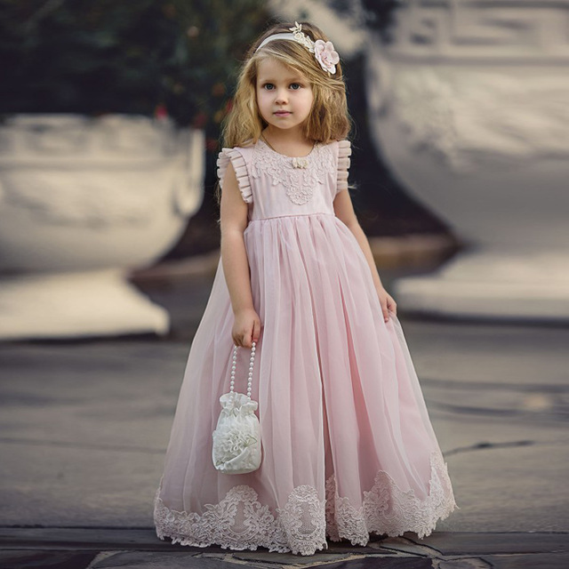 Cute Pale Pink Little Girls Pageant Dress A Line Long Teens Girls