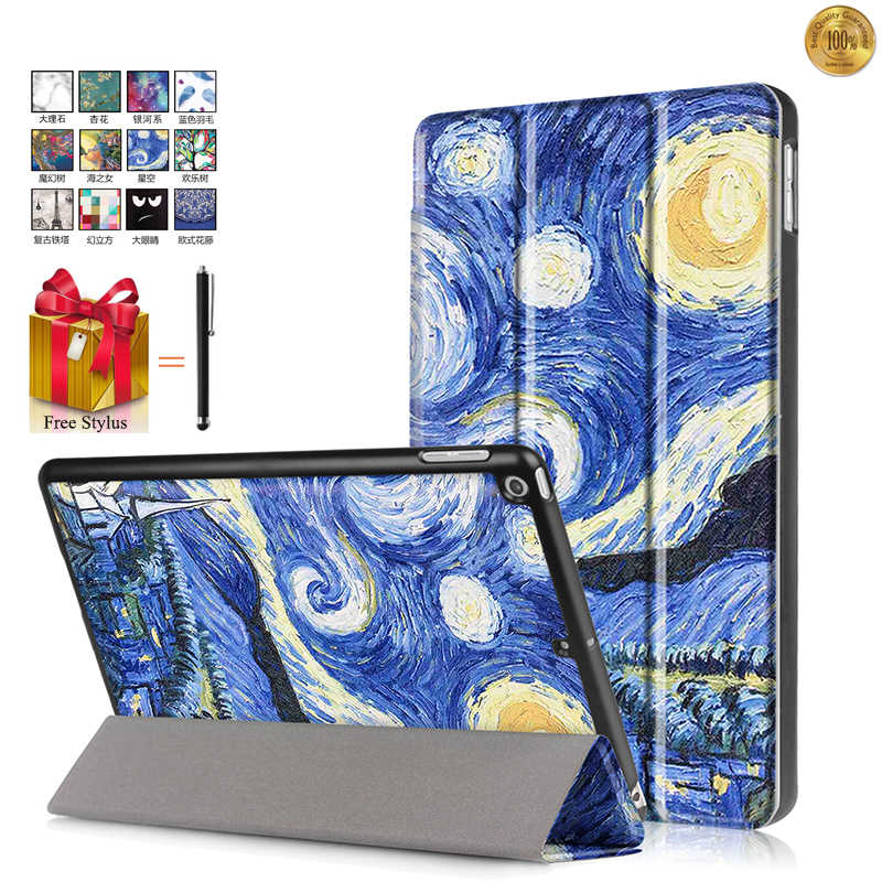 Case For Apple Tablet iPad 9.7 2017 Luxury Case Cover For iPad 9.7 inch 2017 Luxury Print Flip Leather Stand Funda+Stylus