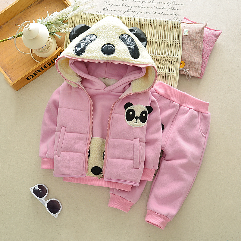 ФОТО 3 Piece Kids Suits 1~4 Years Old Boys Girls Winter Thicken Fleece Sets Hoodies Vest +shirt+Pants Children Clothes