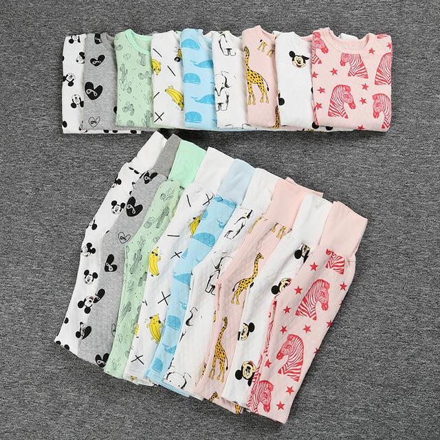 100% Algodão Primavera Inverno Crianças Pijamas de Manga Longa Conjunto de Roupas Para Casa Pijama Cintura Alta Crianças Vestes Sleepwear Meninos Meninas SYHB12008