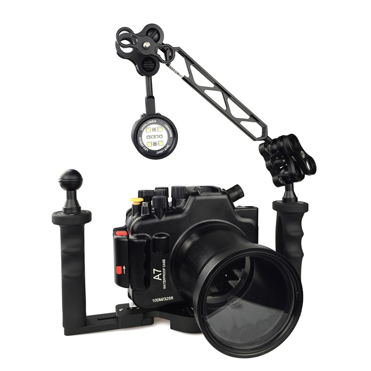 for Sony A7 100M/325ft Underwater Aluminum Housing Case Waterproof Camera Tray two Hands Holder MK 15 2400LM Flashlight